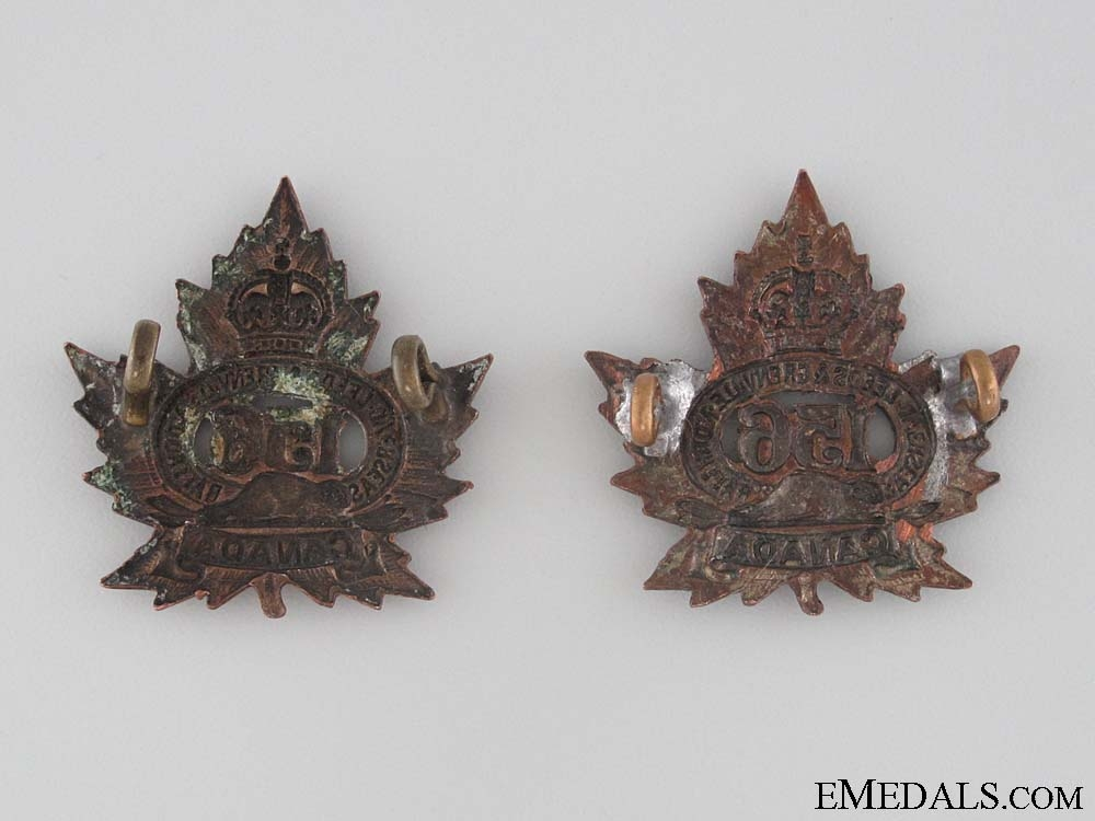 WWI 156th Infantry Battalion Collar Tab Pair CEF