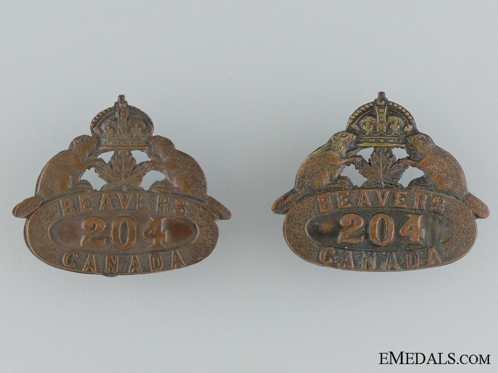 204th Battalion (Toronto Beavers) Collar Badges CEF