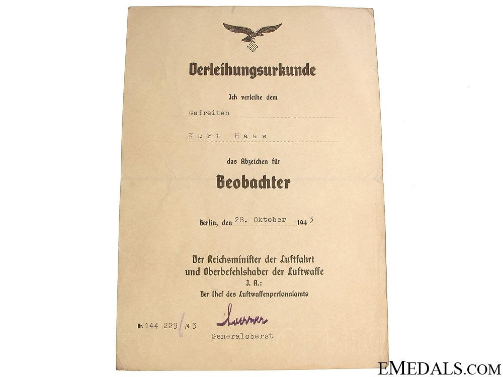 Documents to Obergefreiter Kurt Haas