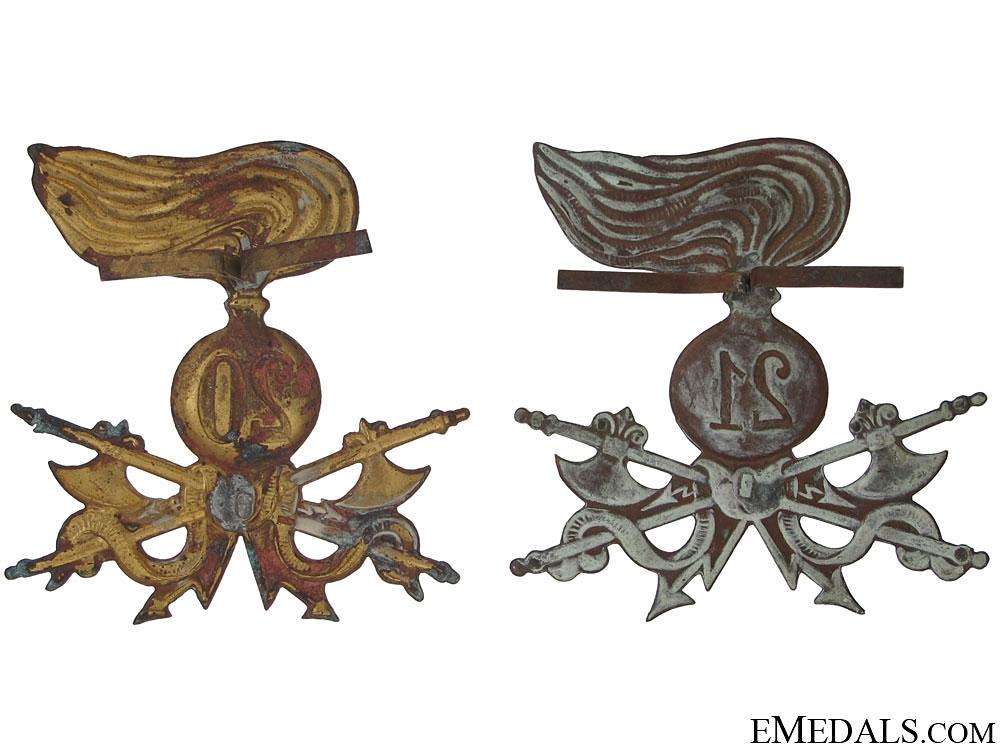Two Italian Hat Badges