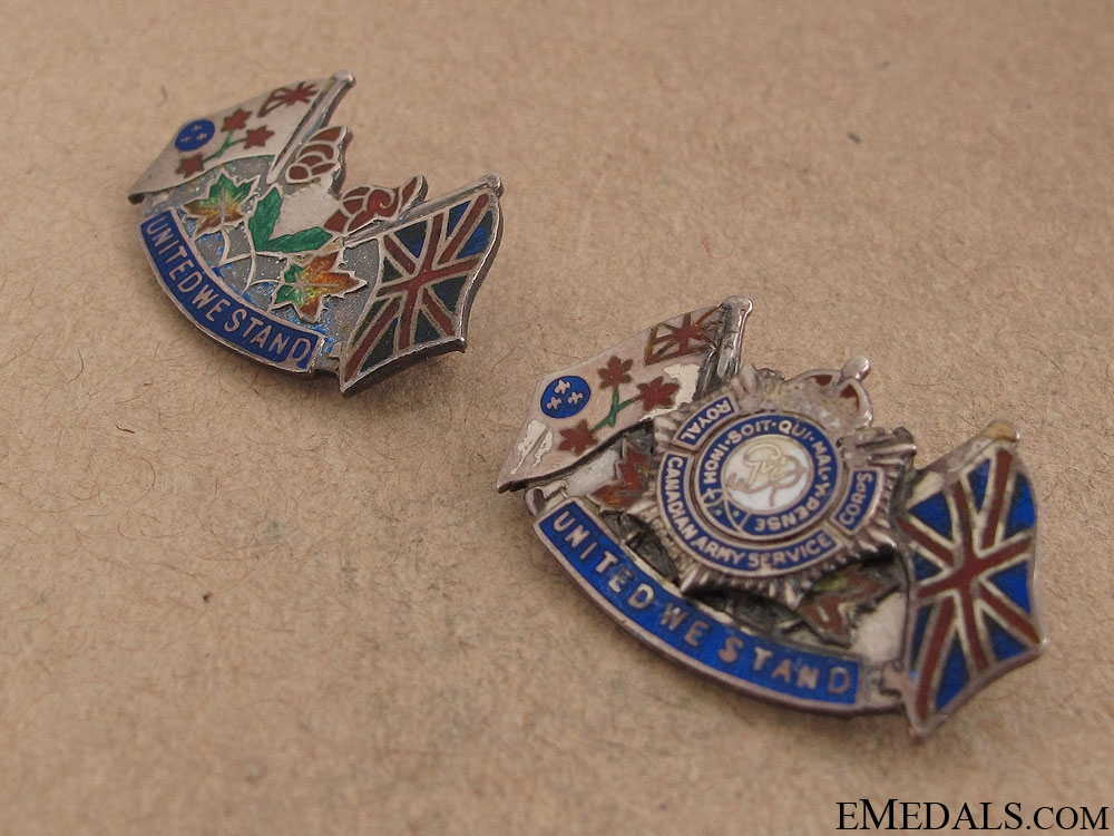 """Two WWII """"United We Stand"""" Pins"""