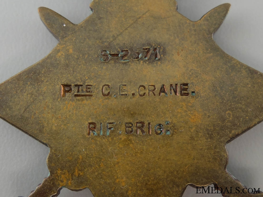 A 1914-15 First War Star to the Rifle Brigade