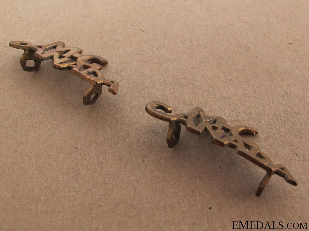 WWI Handmade Canadian Machine Gun Shoulder Flashes