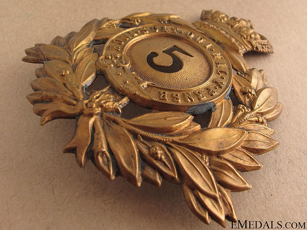 Victorian Era 5th Regiment of Foot Helmet Plate