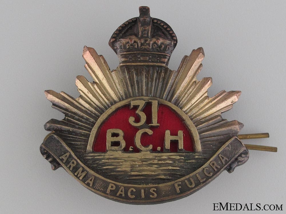 31st British Columbia Horse Cap Badge