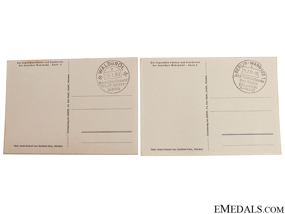 Two Wehrmacht Battalion Standard Postcards