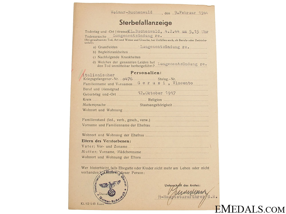 Buchenwald Kamp Death Notice of Italian POW's