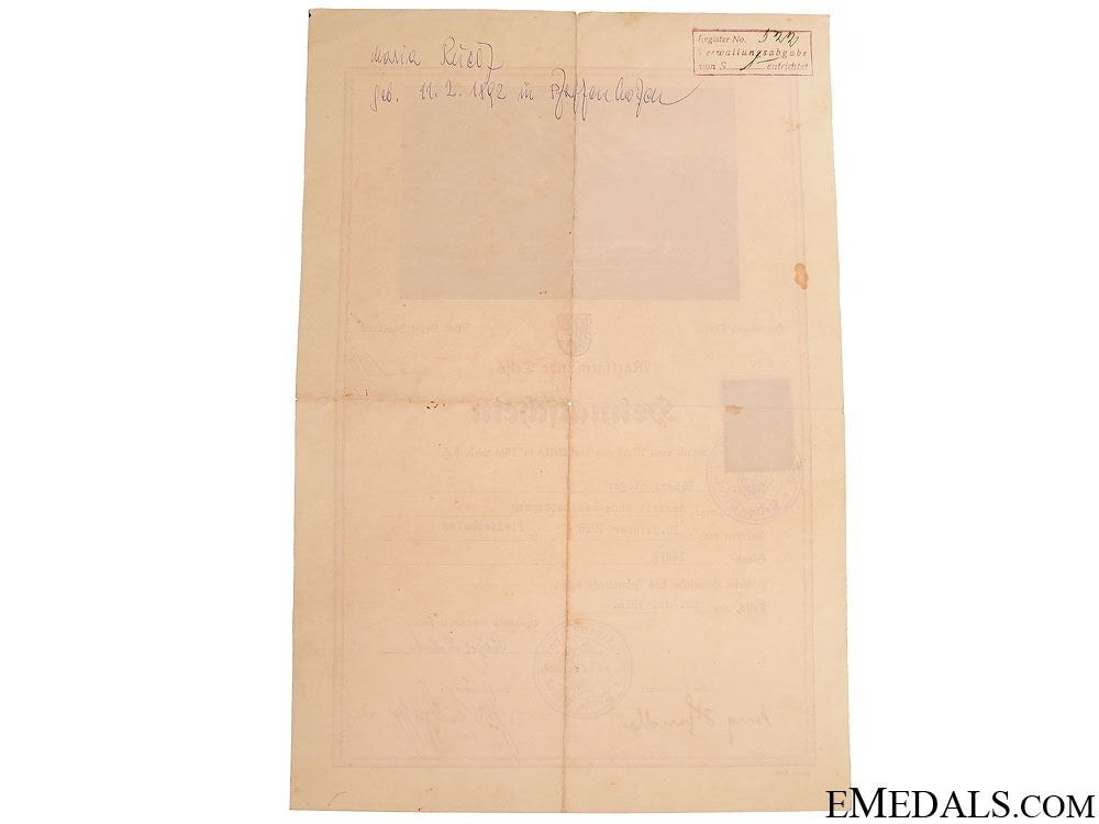 Award Documents to Unteroffizier Inf.Rgt.217