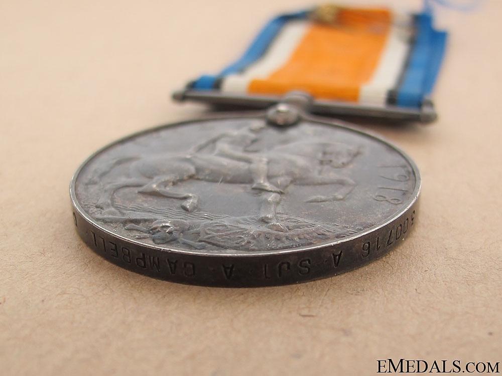 British War Medal - Canadian Garrison Artillery