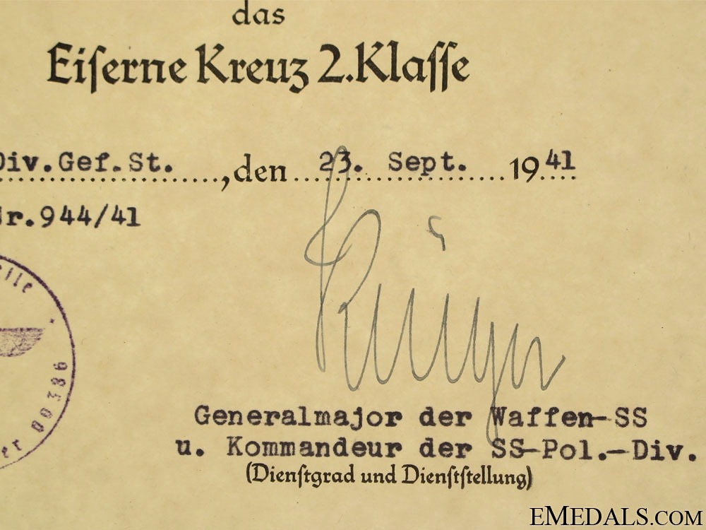 Award Documents to Wachmeister im SS-Pol.Artillerie R.