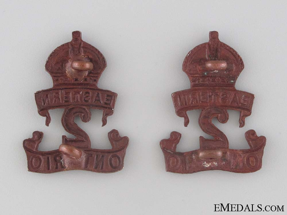 WWI 2nd Infantry Battalion Collar Tab Pair CEF