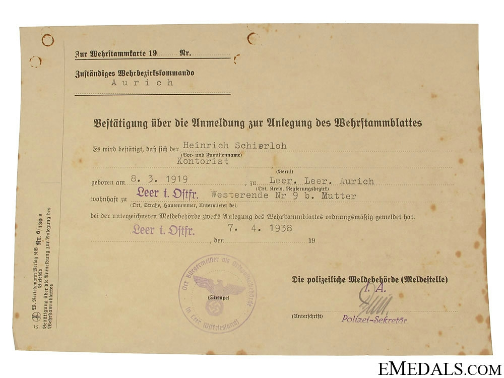 Army Group of Award Documents - Stretcher Bearer