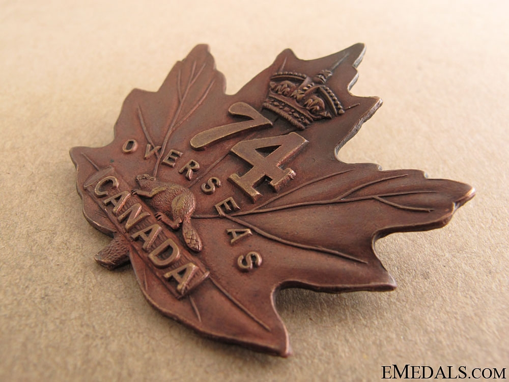 WWI 74th Battalion Cap Badge CEF