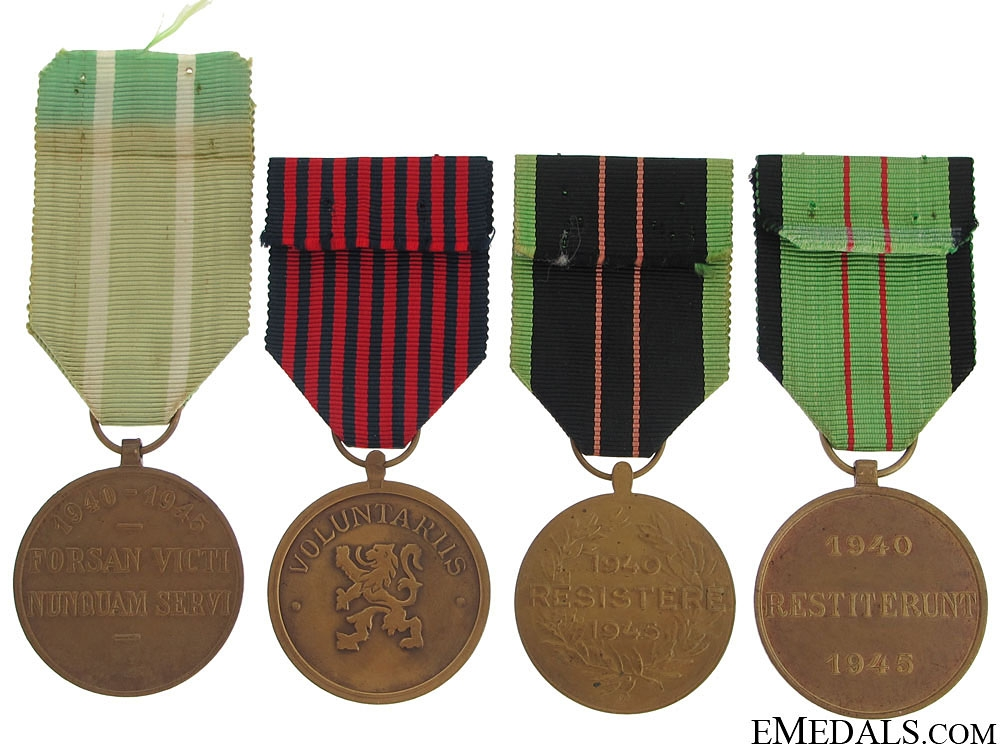 Four Belgian WWII Medals 1940-1945