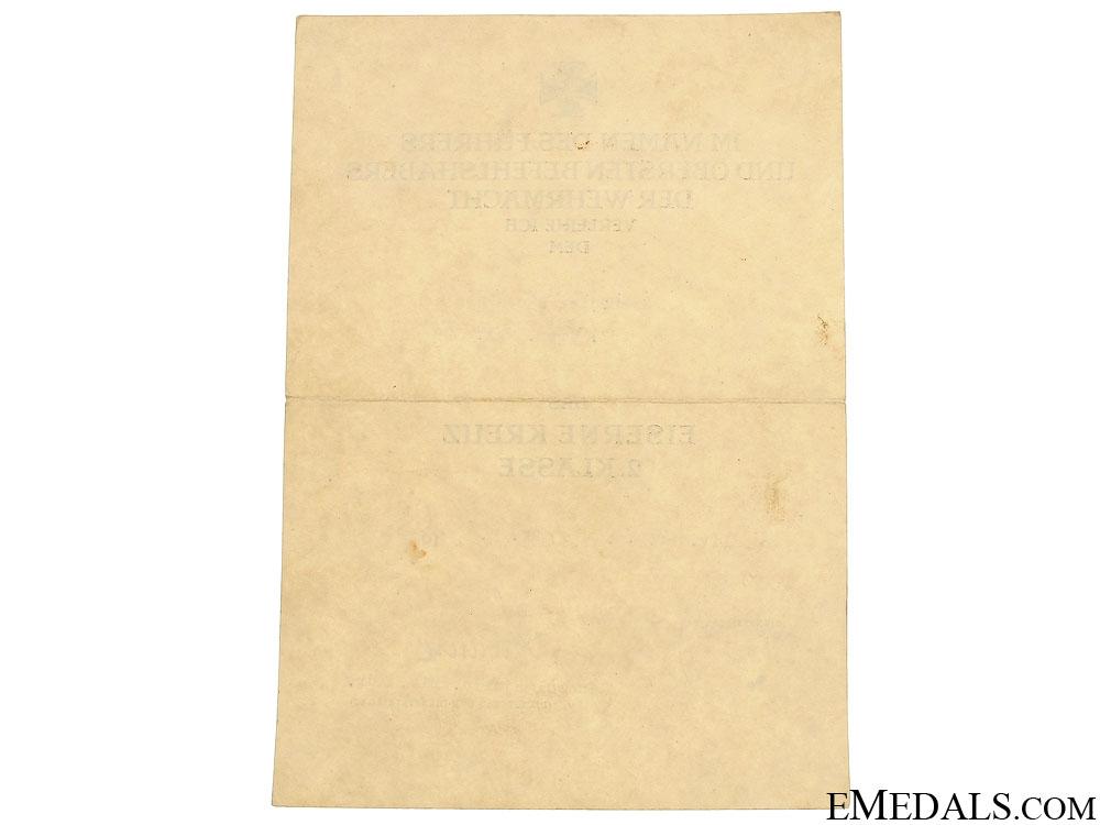 Iron Cross Second Class 1939 Award Document