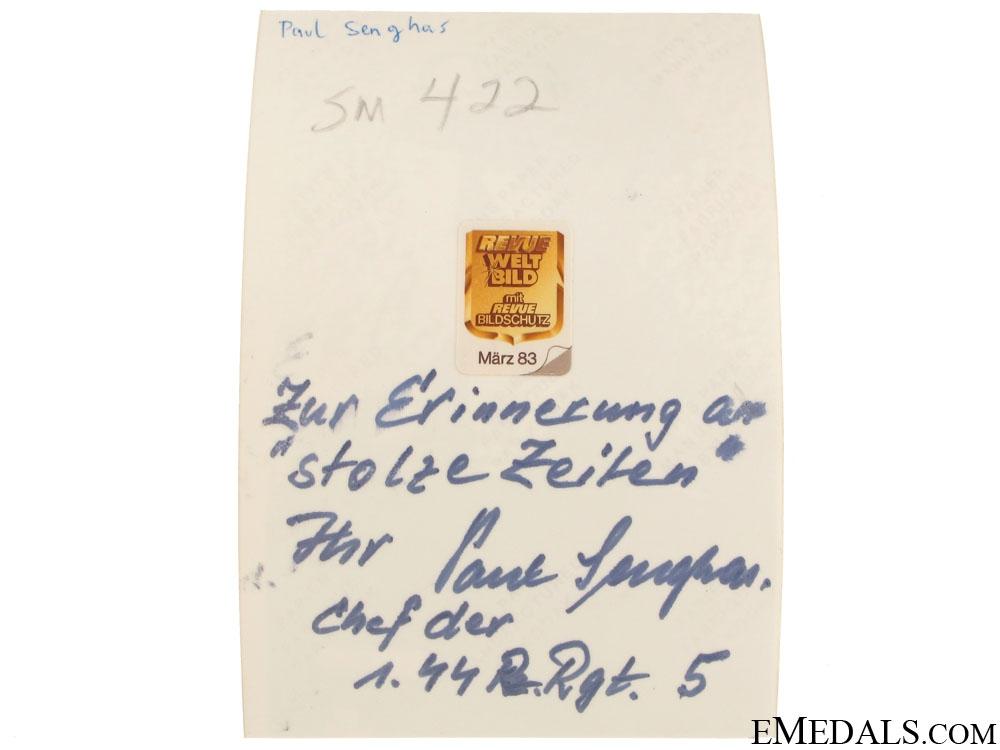 An SS 44th Reg. KC Winner Signed Photograph