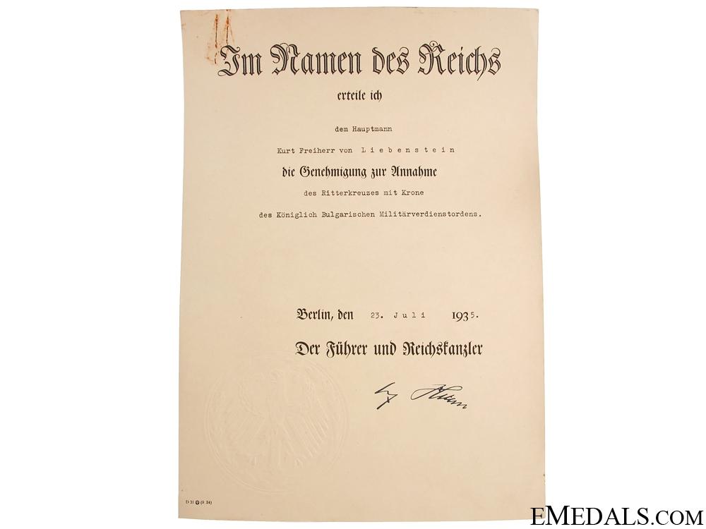 The Awards of Kurt Freiherr von Liebenstein