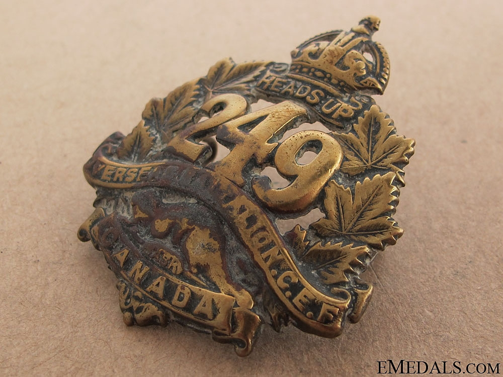 WWI 249th Infantry Battalion Cap Badge CEF