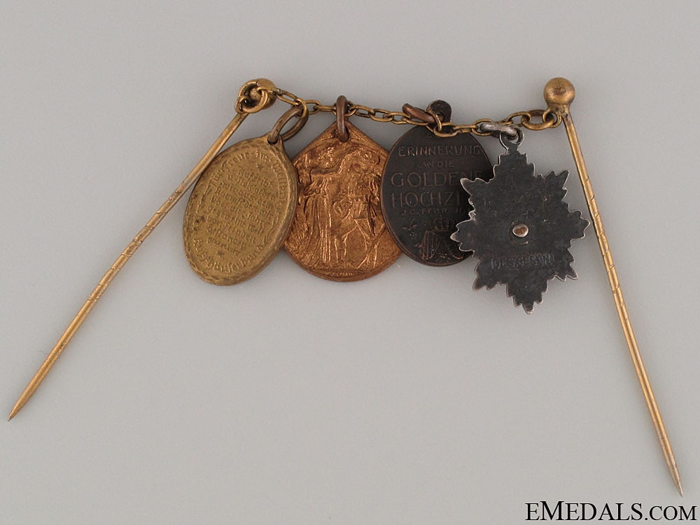WWI Veteran's Four Miniature Medals on Chain