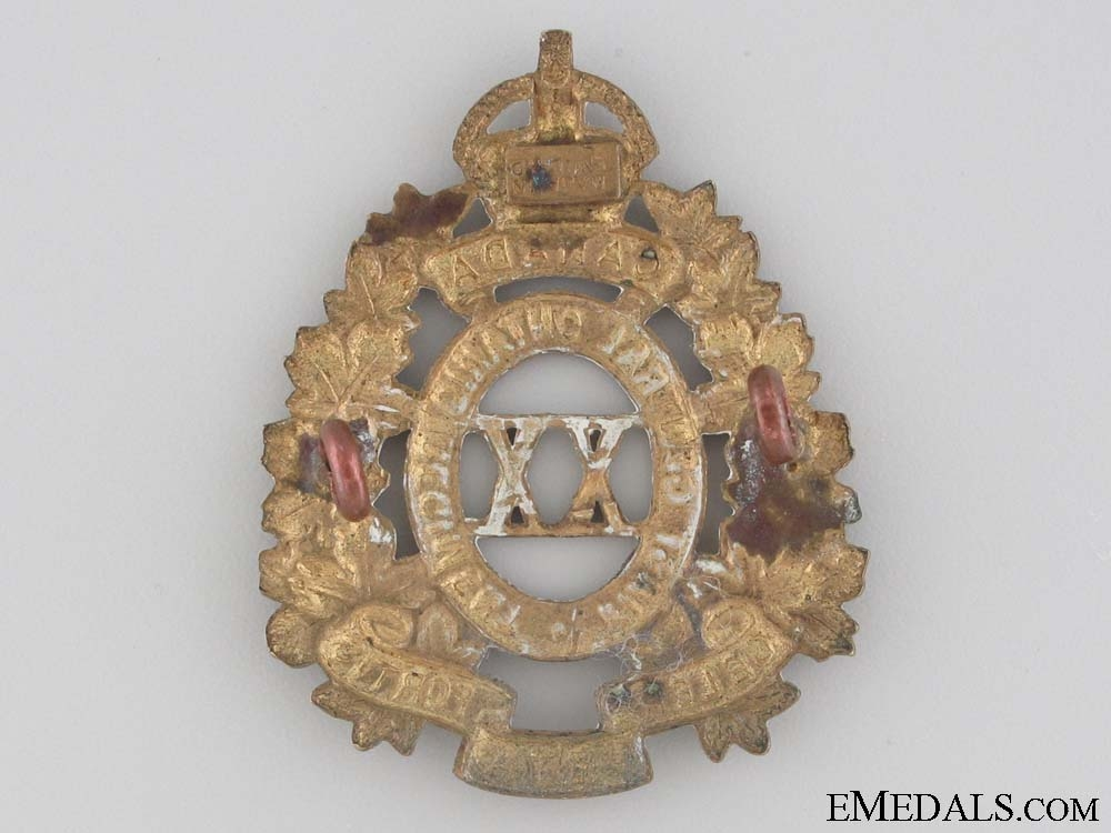 WWI 20th Infantry Battalion Cap Badge CEF