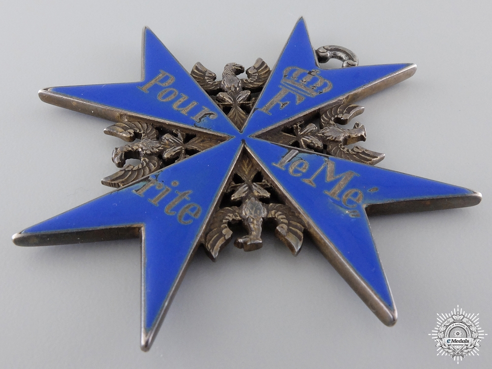 A German Imperial Friedländer Pour le Merite with Cased Awards