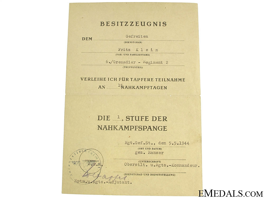 Army Group of Documents, Gefreiten, Grenadier Rgt. 2