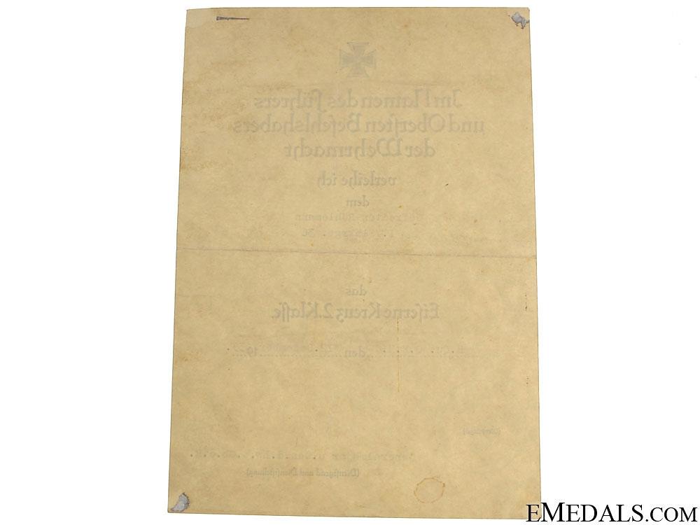 Iron Cross 2nd. Cl. Award Document