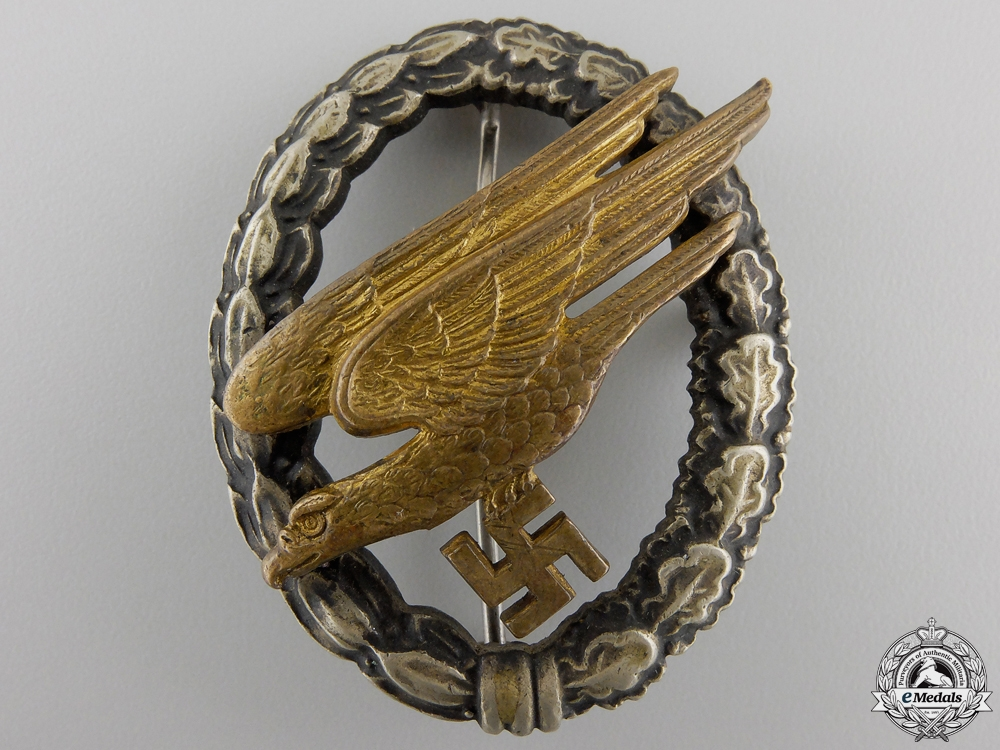 An Early Luftwaffe Paratrooper Badge by Assmann