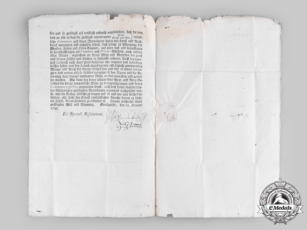 Württemberg, Duchy. An Official Ducal Document Addressing Supply Shortages, 1745