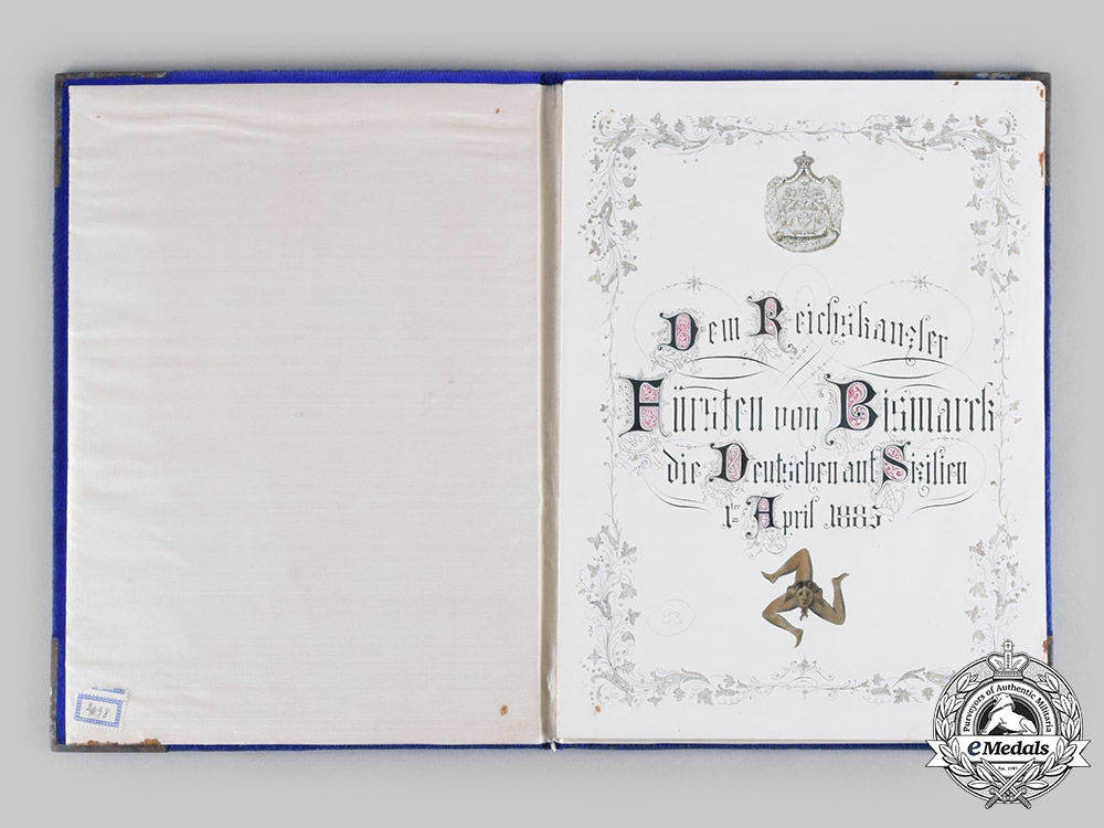 Germany, Imperial. A Congratulatory Document in Folder for 70th Birthday of Otto von Bismarck by Germans of Sicily