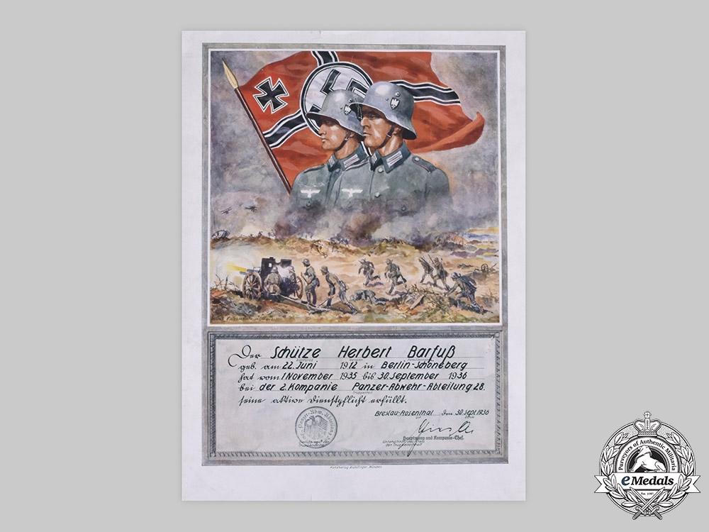 Germany, Heer. A Large Service Certificate to Anti-Tank Schütze Barfuß, 1936