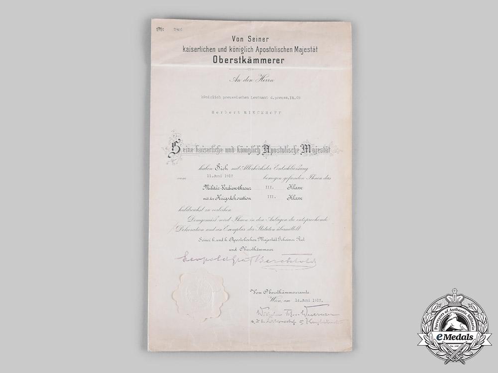 Germany, Luftwaffe. An Austrian Military Merit Cross III Class Certificate to Generalleutnant and KC Winner Rieckhoff