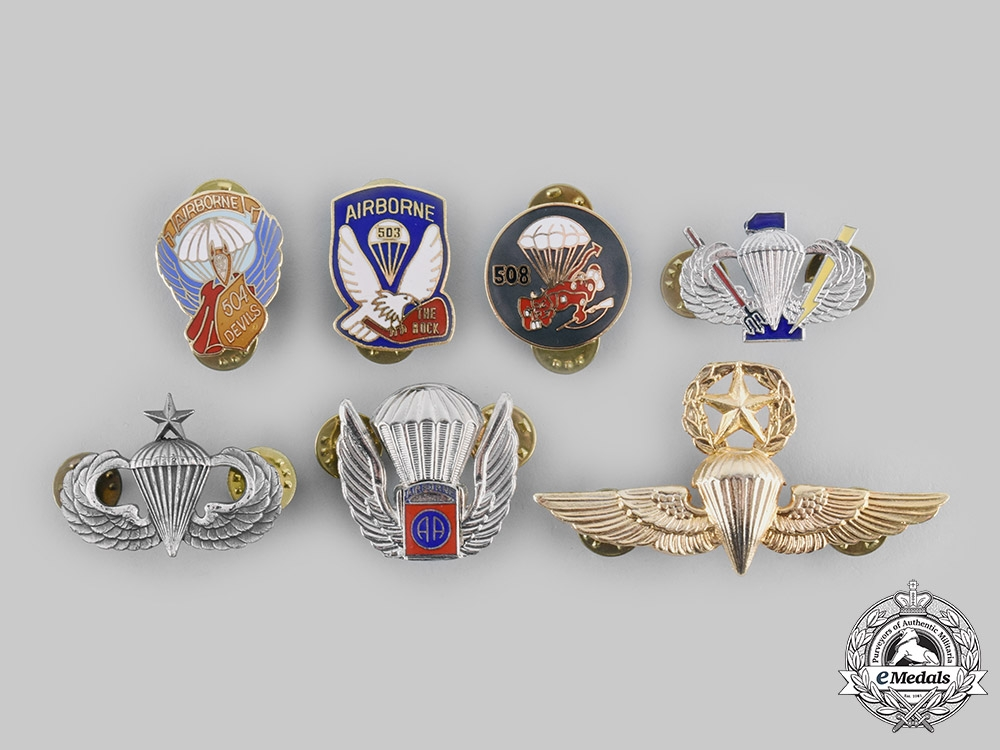 United States. A Lot of Seven Parachutist Badges