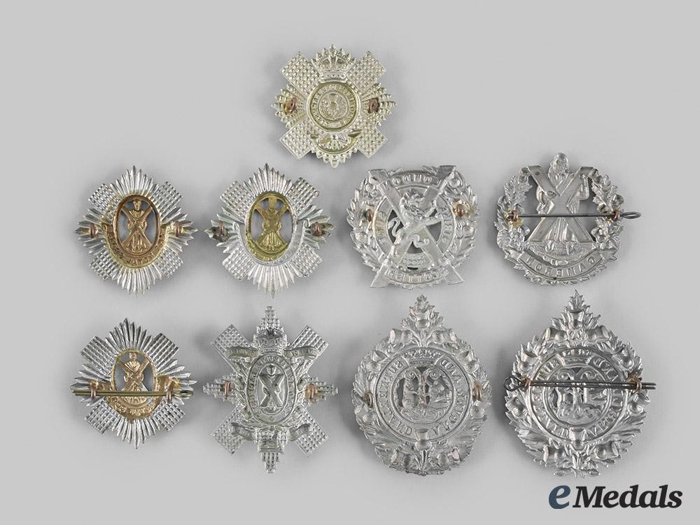 United Kingdom. Nine Regimental Glengarry Badges