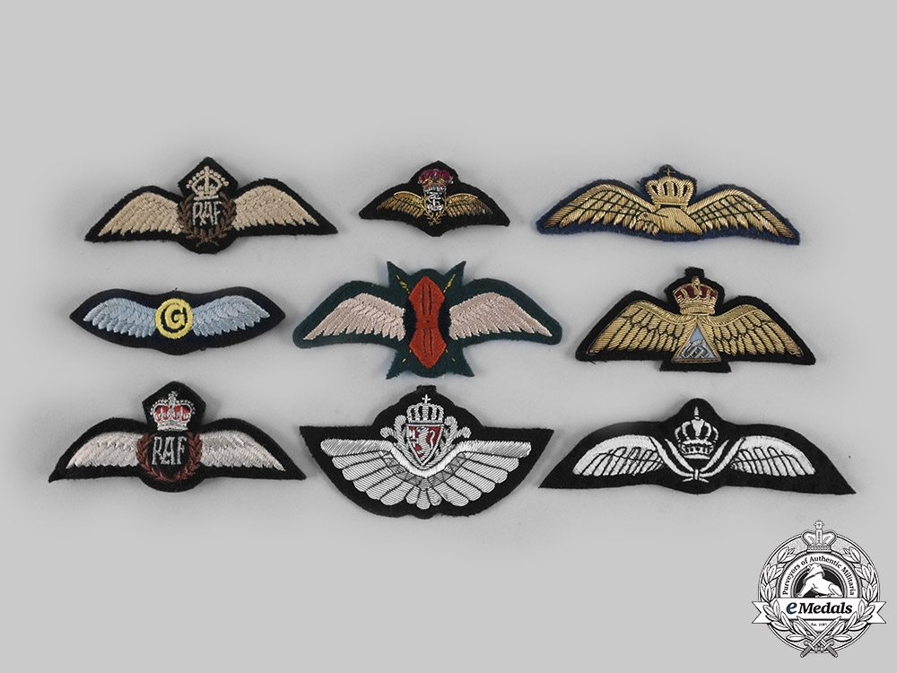 Greece, Iraq, Jordan, Kenya, Norway, United Kingdom. Lot of Nine Air Force Badges