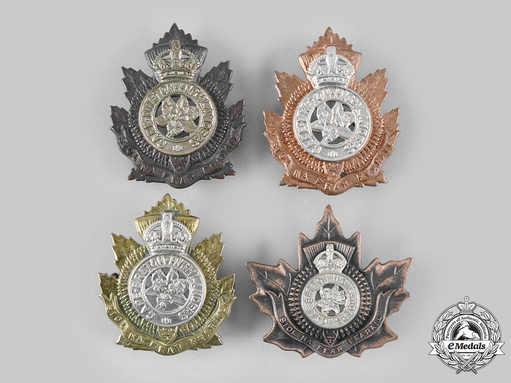 Canada, Commonwealth. Four King's Crown Cape Breton Highlanders Glengarry Badges