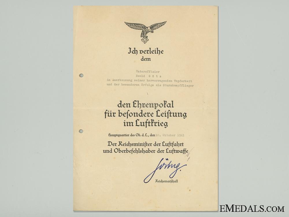 Luftwaffe Goblet of Honor Award Document