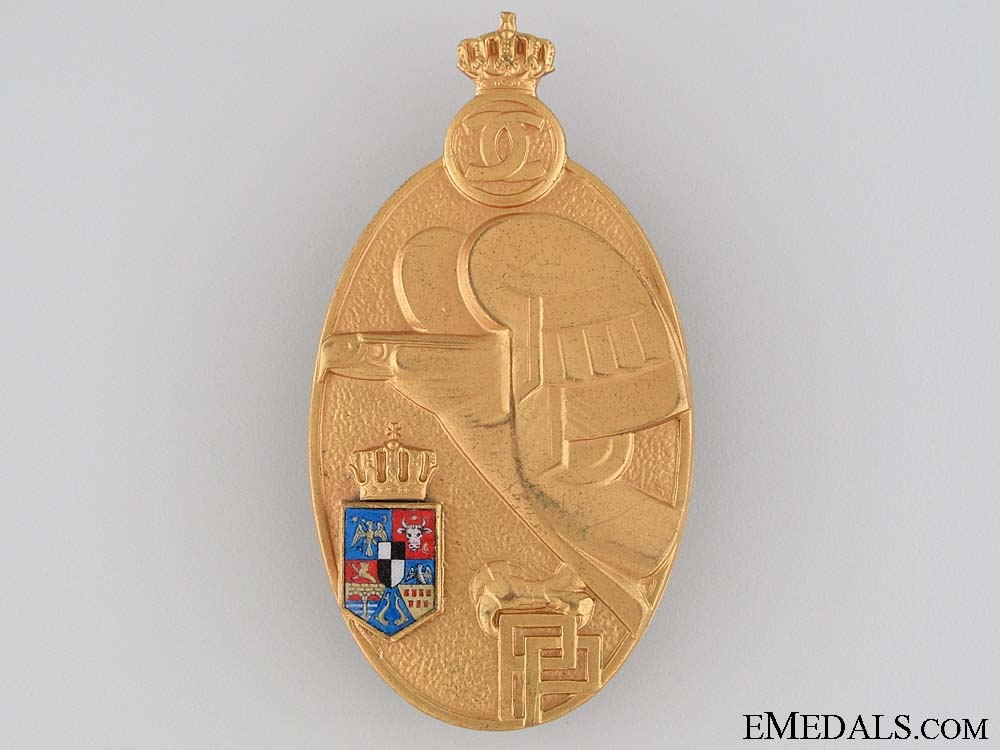 Romania (Kingdom). Military Academy Graduate Badge, Gold Grade,