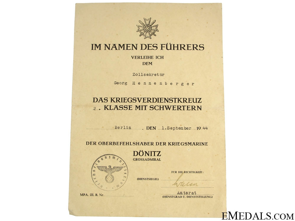 Unusual KVK Document – Dönitz Imprinted
