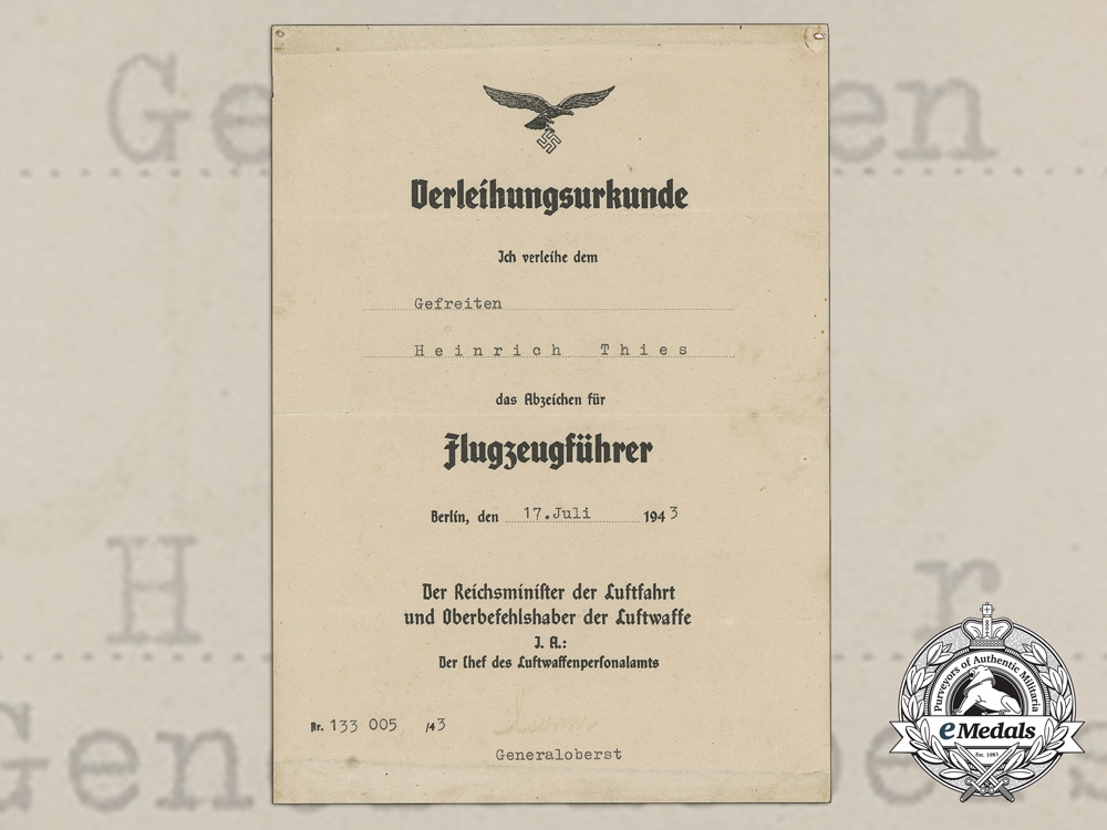A Pilot Badge Award Document to Gefreiten Heinrich Thies