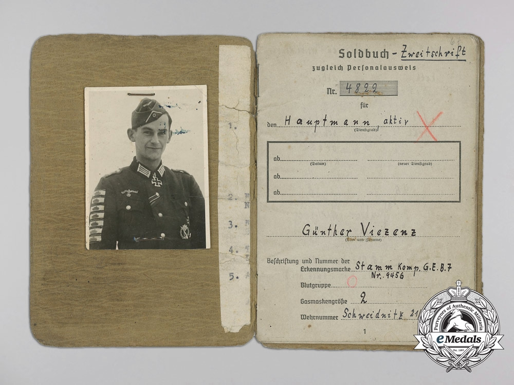 The Soldbuch & Documents to Günther Viezenz; Record Holder of the Tank Destruction Badge who Destroyed 21 Enemy Tanks