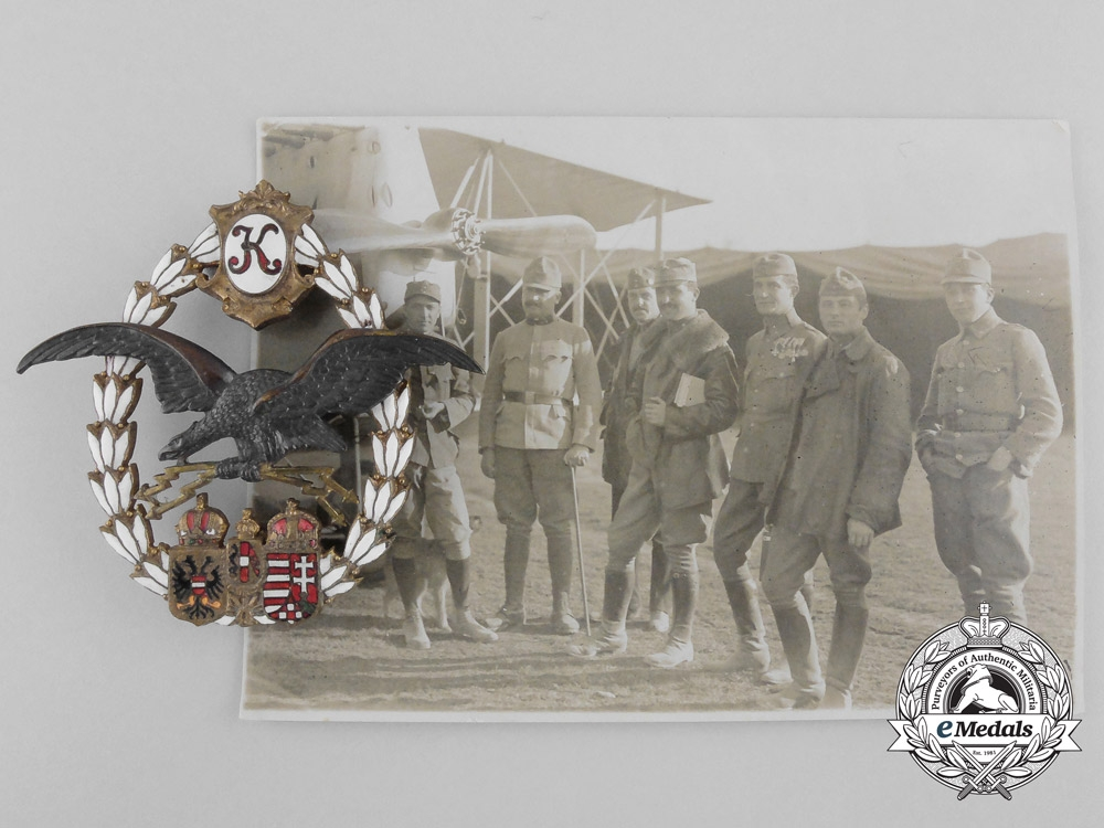 A First War Austrian General Flying Badge 1917-18 & Photo of Flyers