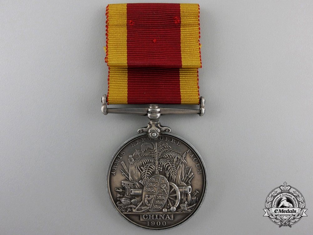 A 1900 China War Medal to Able Seaman E.G. Charman of H.M.S. Centurion