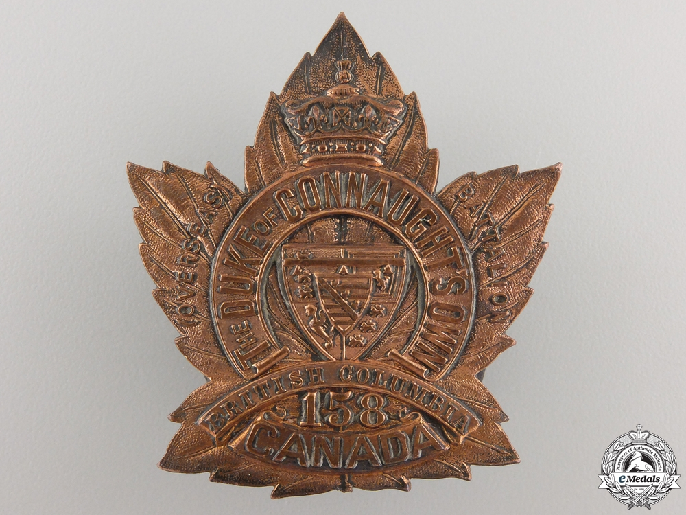 A 158th Battalion Duke of Connaught's Own CEF Cap Badge