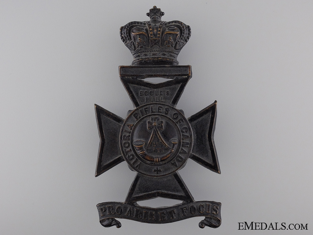 A 1904 3rd Battalion Victoria Rifles of Canada Helmet Plate