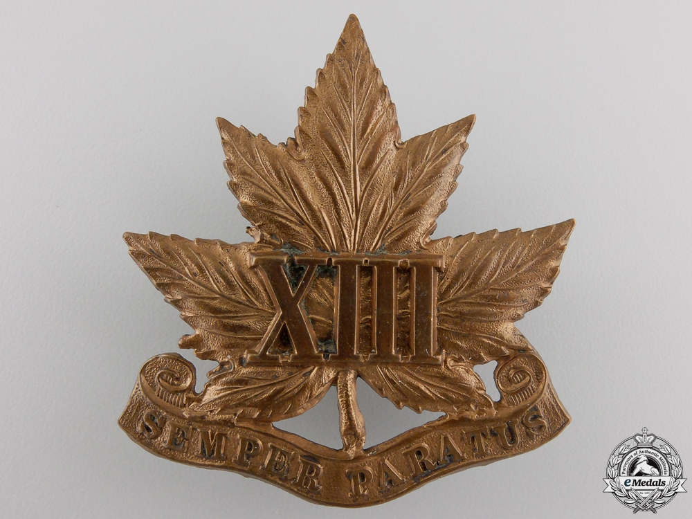 A 1907 13th Regiment Cap Badge
