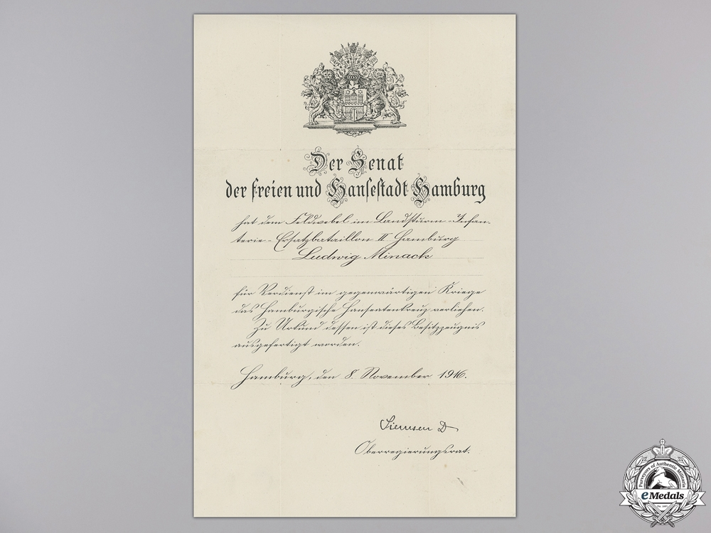 A 1914 Hamburg Hanseatic Cross Award Document