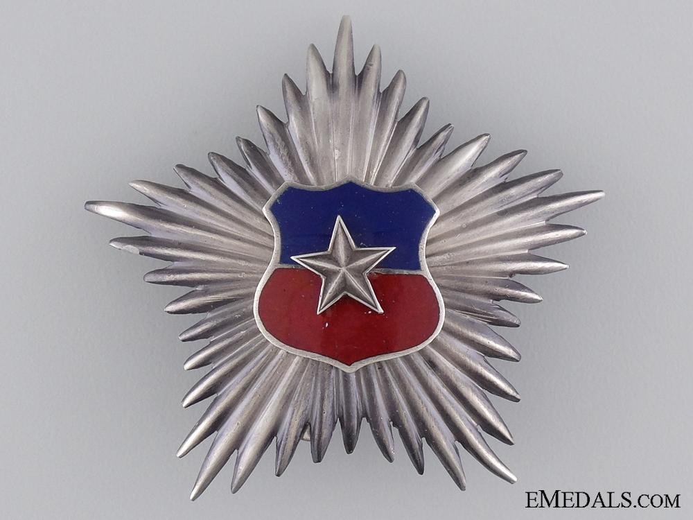 A 1920's Chilean Silver Star for Officers for Twenty Years' Service