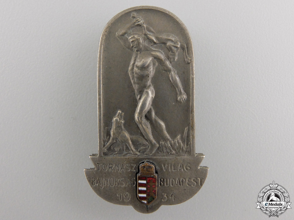 A 1934 Hungarian World Gymnastics Championships Badge