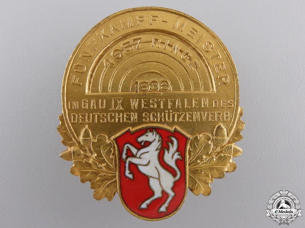 A 1936 Gau IX Westfalen Pentathlon Shooting Champion Badge